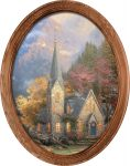 Mountain Chapel – 16″ x 12″ Framed Canvas Oval