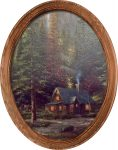 Mountain Majesty (Cabin) – 16″ x 12″ Framed Canvas Oval