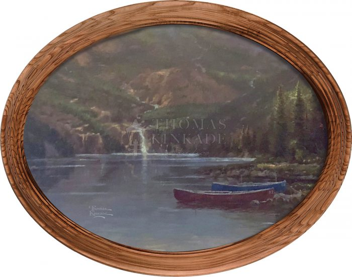Mountain Majesty (Canoes) – 12″ x 16″ Framed Canvas Oval