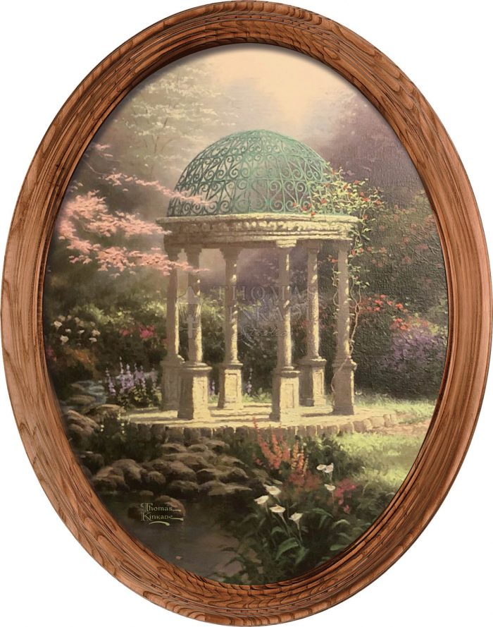 Pools of Serenity (Garden Shelter) – 16″ x 12″ Framed Canvas Oval