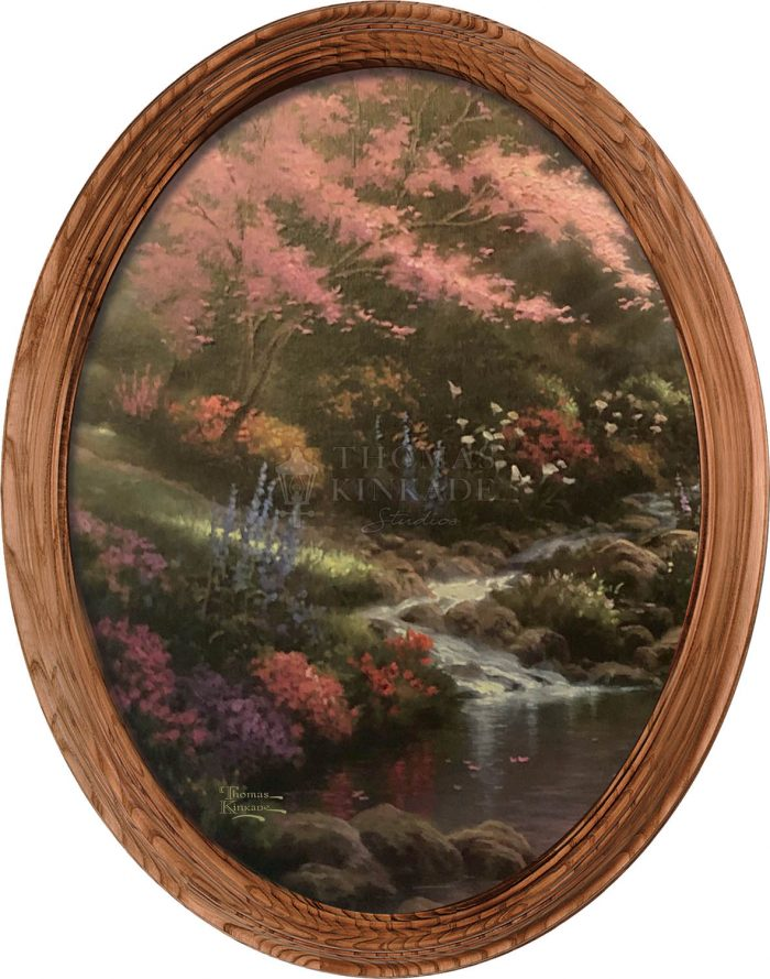 Pools of Serenity (Stream) – 16″ x 12″ Framed Canvas Oval