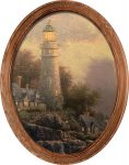 Sea of Tranquility (Lighthouse) – 16″ x 12″ Framed Canvas Oval