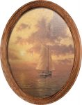 Sea of Tranquility (Sailboat) – 16″ x 12″ Framed Canvas Oval