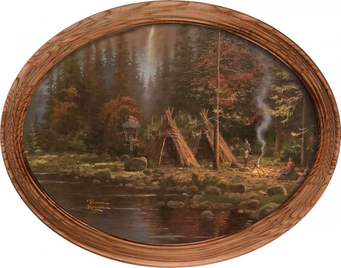 Mountains Declare His Glory (Campsite) – 12″ x 16″ Framed Canvas Oval
