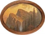 Mountains Declare His Glory  (Mountain) – 12″ x 16″ Framed Canvas Oval