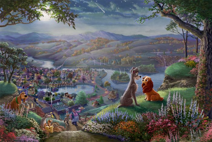 Disney Lady and the Tramp Falling in Love – Limited Edition Canvas