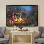 Mickey and Minnie – Sweetheart Campfire – 40″ x 60″ Framed Canvas Gallery Wrap