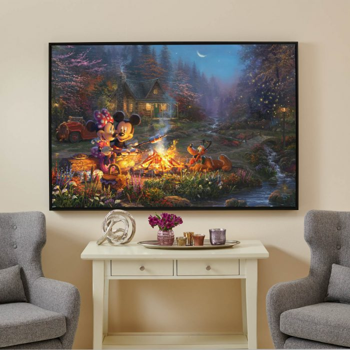 Mickey and Minnie Sweetheart Campfire – 40″ x 60″ Framed Canvas Gallery Wrap