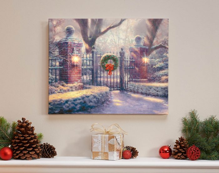 Christmas Gate – 16″ x 20″ Lighted Wrapped Canvas