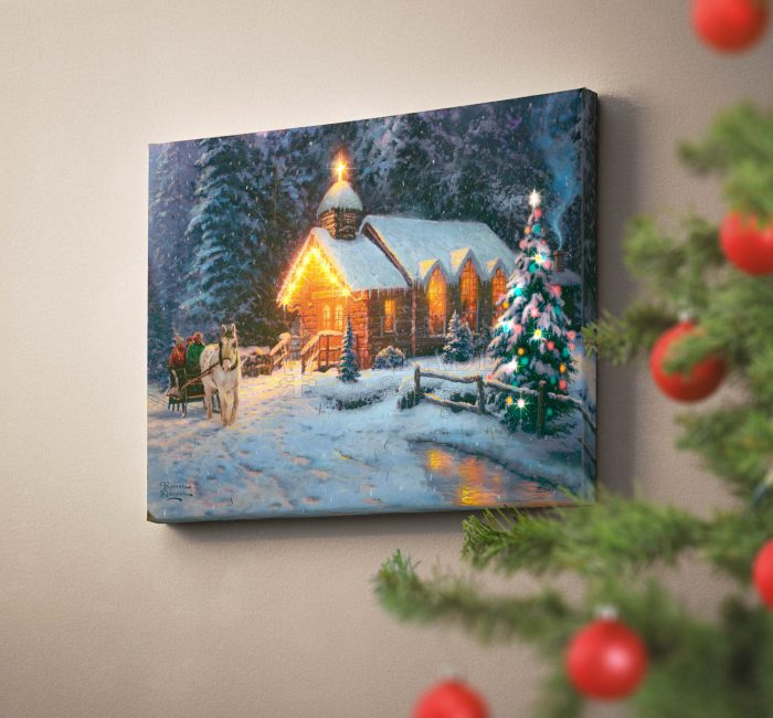 Christmas Chapel – 16″ x 20″ Lighted Wrapped Canvas