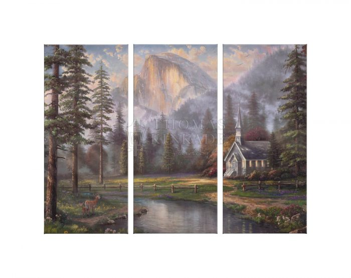 Valley Chapel – 36″ x 48″ (Set of 3) Triptych Giclee Canvas