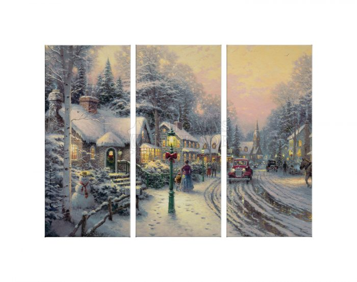 Village Christmas – 36″ x 48″ (Set of 3) Triptych Giclee Canvas