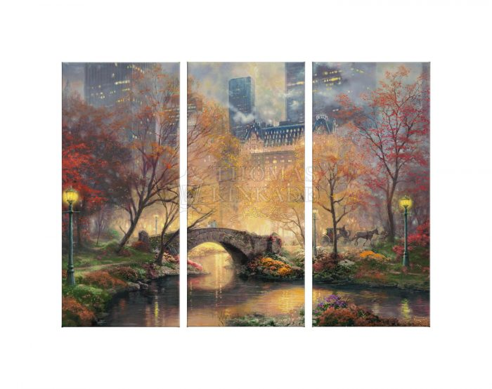 Central Park in the Fall – 36″ x 48″ (Set of 3) Triptych Giclee Canvas