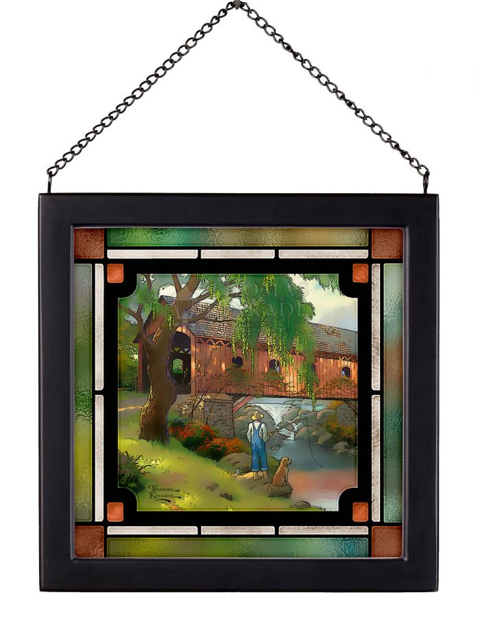 Old Fishin Hole – 8″ x 8″ Stained Glass Art