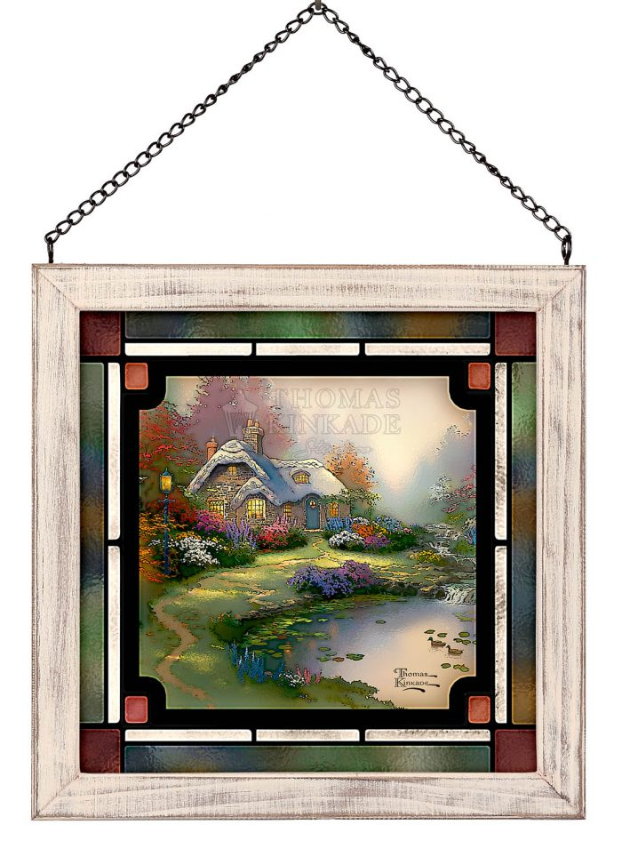 Everetts Cottage – 8″ x 8″ Stained Glass Art