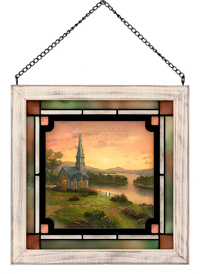 Sunrise Chapel – 8″ x 8″ Stained Glass Art