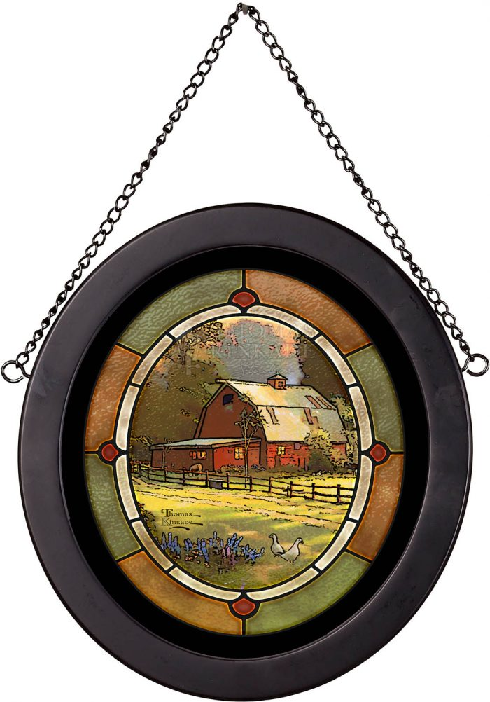 Sunset at Riverbend Farm – 8″ x 7″ Stained Glass Art
