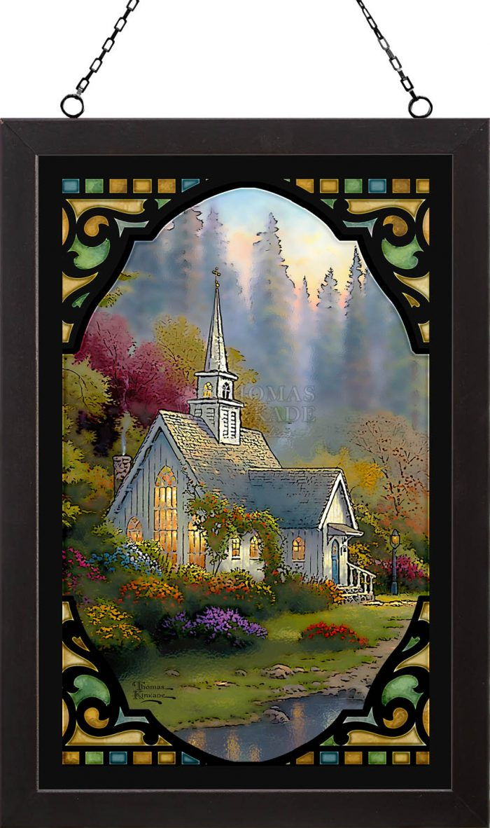 The Forest Chapel – 18″ x 12″ Stained Glass Art