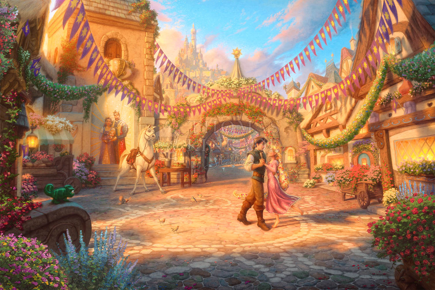 Rapunzel Dancing in the Sunlit Courtyard – Limited Edition Canvas