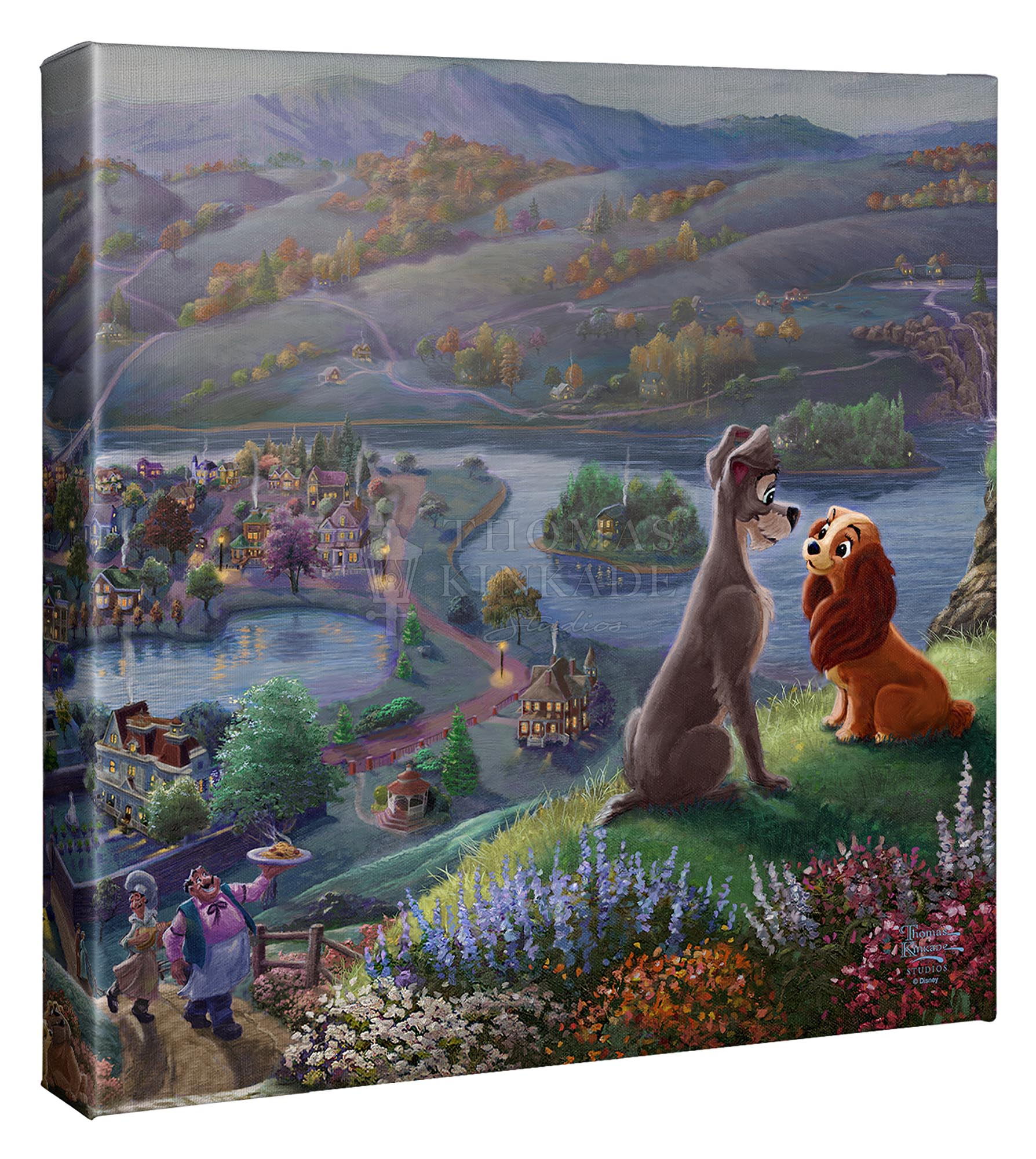 Lady And The Tramp Falling In Love 14 X 14 Gallery Wrapped Canvas Thomas Kinkade Studios