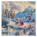 "Beauty and the Beast's Winter Enchantment - 14"" x 14"" Gallery Wrapped Canvas"