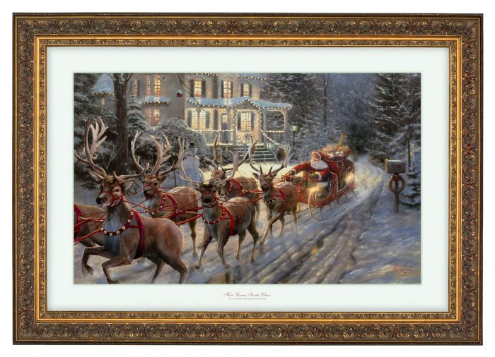 Here Comes Santa Claus – 18″ x 27″ Framed Print – Gold Frame
