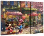 Mickey and Minnie – Sweetheart Café – 36″ x 48″ (Set of 3) Triptych Giclee Canvas
