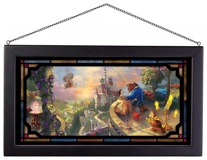 Beauty and the Beast Falling in Love – 13″ x 23″ Framed Glass Art