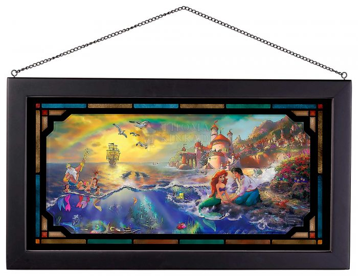 The Little Mermaid – 13″ x 23″ Framed Glass Art
