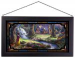 Snow White Discovers the Cottage – 13″ x 23″ Framed Glass Art