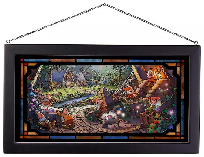 Snow White and the Seven Dwarves – 13″ x 23″ Framed Glass Art