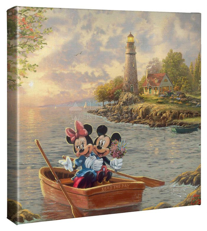 Mickey and Minnie Lighthouse Cove – 14″ X 14″ Gallery Wrapped Canvas