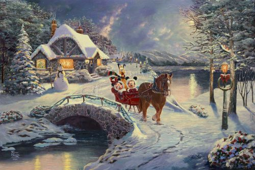 Mickey and Minnie Evening Sleigh Ride - Limited Edition Canvas