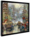 San Fransisco, A View Down California St from Nob Hill – 20″ x 20″ Gallery Wrapped Canvas (Onyx Black Frame)