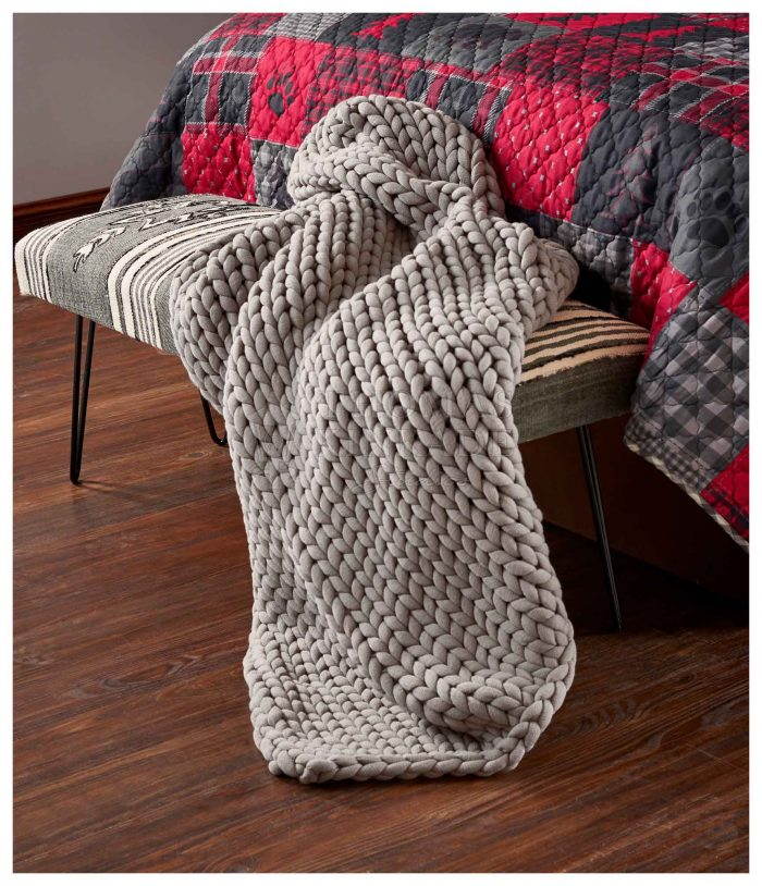 Grey Frost Chunky Knit – Throw