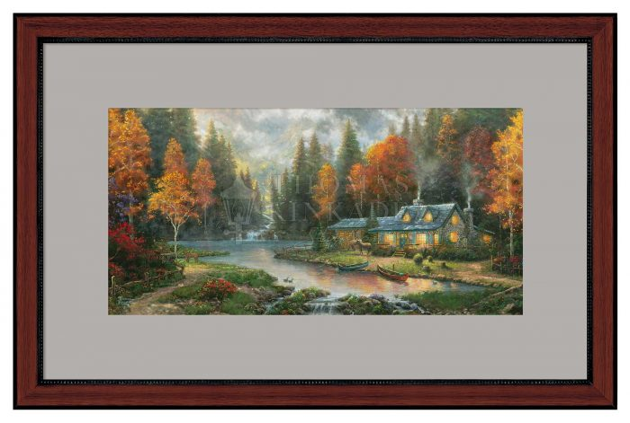 Evening at Autumn Lake – 12″ x 24″ Framed Print