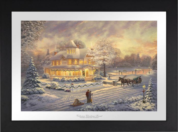 Victorian Christmas Sunset 18″ x 27″ SN Limited Edition Paper with Black EZ Frame