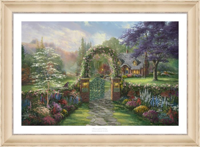Hummingbird Cottage – 18″ x 27″ SN Limited Edition Paper With Champagne Frame