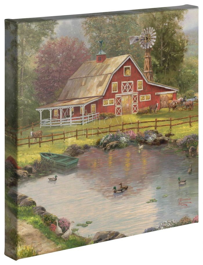 Red Barn Retreat – 14″ x 14″ Gallery Wrapped Canvas