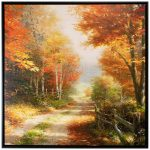 A Walk Down Autumn Lane – 36″ X 36″ Framed Canvas Wall Murals
