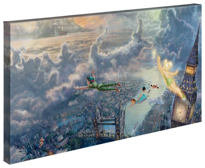 Tinker Bell and Peter Pan Fly to Neverland – 16″ x 31″ Gallery Wrapped Canvas