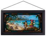 Mickey and Minnie in Hawaii – 13″ x 23″ Framed Glass Art