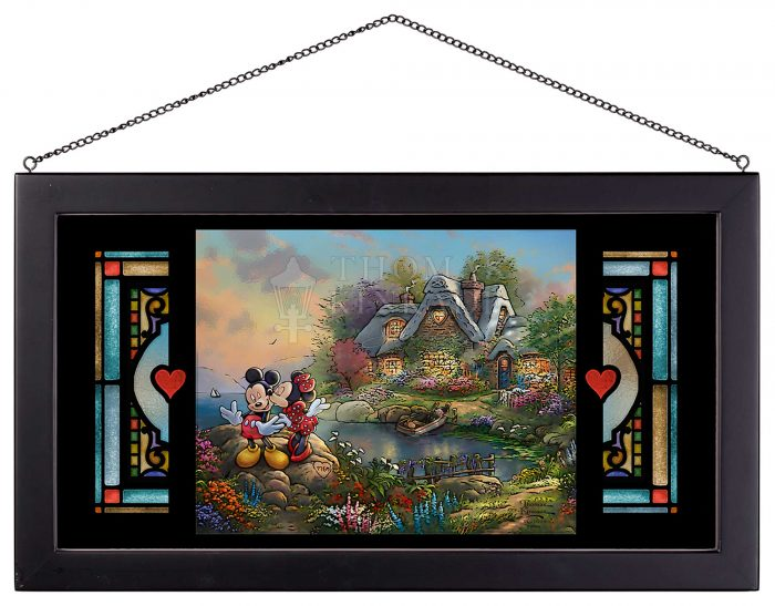 Mickey and Minnie – Sweetheart Cove – 13″ x 23″ Framed Glass Art
