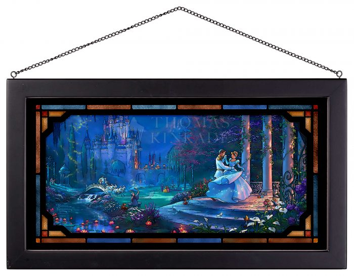 Cinderella Dancing in the Starlight – 13″ x 23″ Framed Glass Art