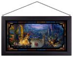 Beauty and the Beast Dancing in the Moonlight – 13″ x 23″ Framed Glass Art