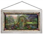 Hummingbird Cottage – 13″ x 23″ Framed Glass Art