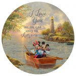 Mickey and Minnie Lighthouse Cove – 21″ Round Wood Sign