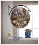 Sunset on Lamplight Lane – 18″ Round Metal Sign