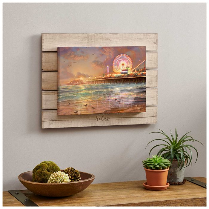 Sunset at Santa Monica Pier – 13″ x 18″ Wrapped Canvas on Pallet