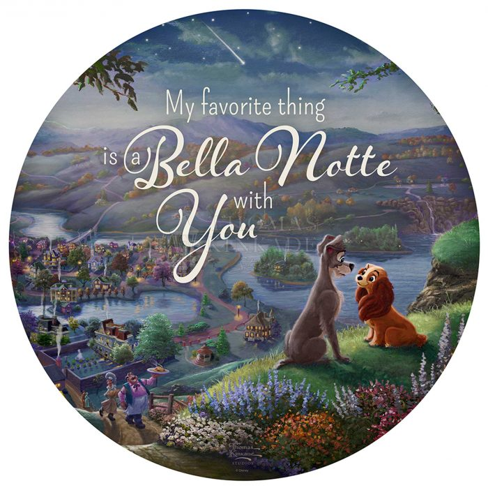Disney Lady and the Tramp Falling in Love – 21″ Round Wood Sign